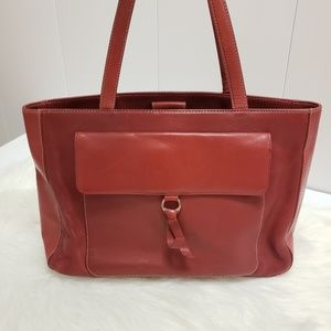 ⬇️Ann Taylor Red Leather Tote